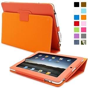 Snugg iPad 2 Hülle (Orange) - Smart Cover mit Automatische Schlaf-Spur, Aufsteller, elastischer Handschlaufe, Stylus-Halterung und Premium Nubuck Innenfutter für Apple iPad 2