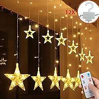 SALCAR Estrellas Hadas Luces, 108 Leds telones de hogar, LED Cortina Cadena Luces con Control Remoto para Boda, Navidad, Halloween, Vacaciones, Fiestas