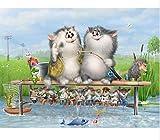 XXIAOHH 5DDIY Puzzle Creativo Pezzo Cartone Animato Gatto Pesca Attrezzatura Classica Giocattolo di Legno Decorazione della casa Regalo unico300 pezzi38x26,5 cm