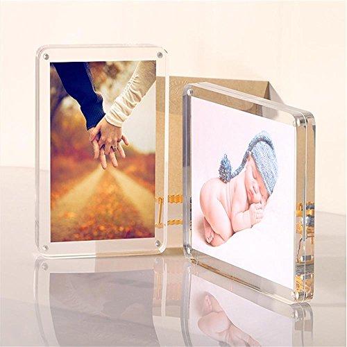 weiyikang transparenten Acryl-Fotorahmen Acryl-Magnetische Bilderrahmen Doppelseitige Bilderrahmen Freie Standing Desktop-15x10 18x13 20x15 (18 x 13 cm) 8 X 10 Magnetische Bilderrahmen