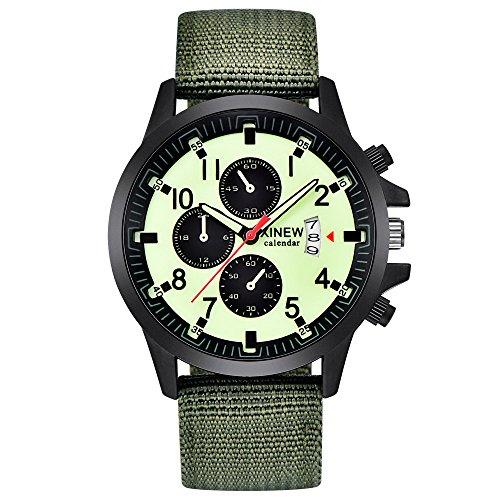 Deloito Herren Luxus Militär Stehlen Uhr Datum Quarz Analog Uhren Beiläufig Legierung Fall Armbanduhren (Grün-B)