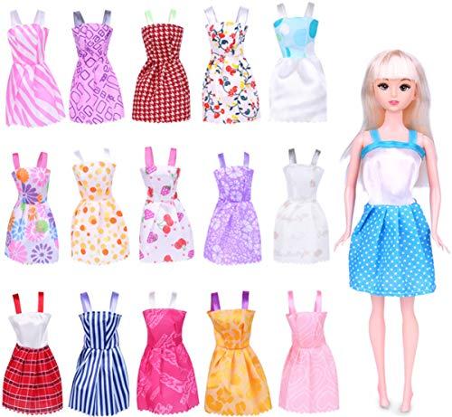 liuer 16PCS Puppenkleidung für Barbie Kleidung Set Puppen Kleider Outfit für 11 Zoll Barbie Kleidung Puppe Puppen Doll Xmas Weihnachten Geschenke (Zufälliger Stil) (Barbie Fashionistas Doll Set)