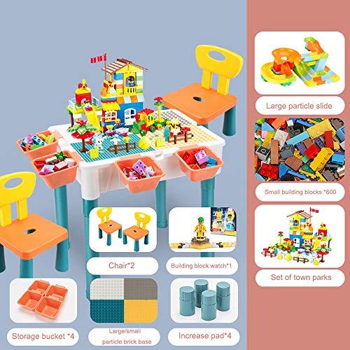 NACEO Tavolo da Gioco per Bambini Design da Tavolo per Gioco Classico, Tavolo da attività E 2 Sedie, con Secchio di Stoccaggio, Usato per Mangiare, Studiare, Giocare