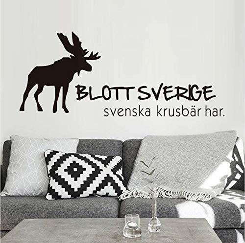 Hwhz 73 x 43 cm adesivo da parete renna per camerette ha decalcomanie da parete svedese gooseberry vinile rimovibile adesivi fai da te soggiorno decorazioni per la casa