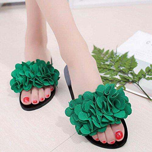 Verão Flor Sapatos Sandálias Verdes Sandálias Senhora Aleta Plana Chinelo Resistentes Do Deslizamento Rcool 4Fntpwqp