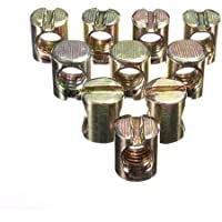Water & Wood 10pcs M8 Barrel Bolts Cross Dowel Slotted Furniture Nut for Beds Crib Chairs