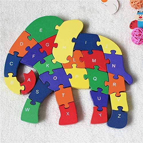 XuBa JP055 - Puzzle de elefante de doble cara para niños con alfabeto de madera como en la imagen