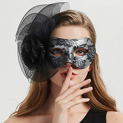 Fanfan Lace Masquerade Maske Halloween Eyemask Venezianische Masken Sexy Lady Girl Spitze Augenmaske Für Halloween Kostüm Ball Carnival Party, Schwarz,5,6 (Michael Halloween 5 Maske Myers)