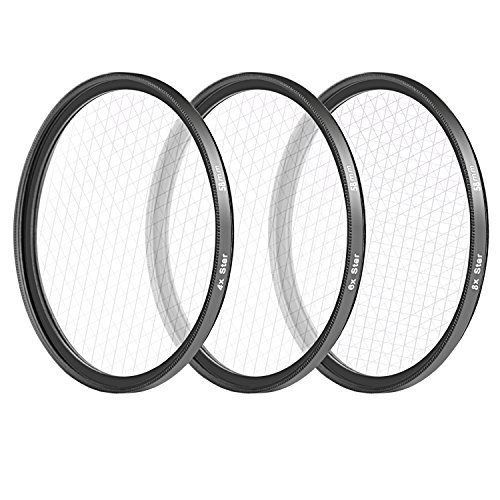 Neewer 3 Filter 58 mm für Spiegelreflexkamera Canon Nikon Glas High Definition Aluminiumrahmen inklusive: Starfilter mit 4 Spitzen 6 Spitzen & 8 Filterhülsen für Filter (schwarz) High-definition-video-filter