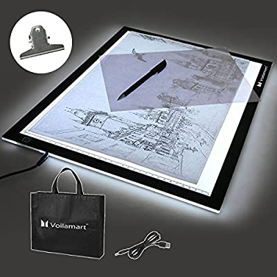 Voilamart Ultra-thin Dimmable Adjustable Brightness LED Drawing Copy Tracing Board Micro USB Power Artcraft Animation Drawing Stencil Pad Artist Tattoo Light Box - inexpensive UK light store.