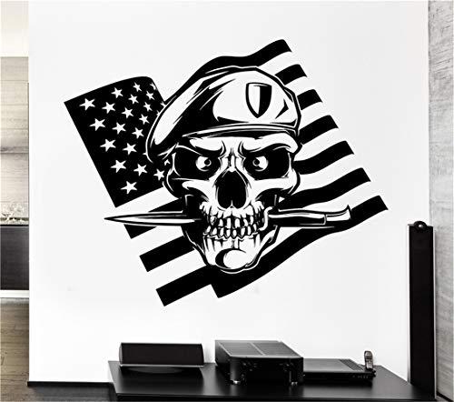 wandaufkleber 3d Wandtattoo Wohnzimmer Amerikanische Flagge Schädel Soldat Death War Messer Aufkleber -