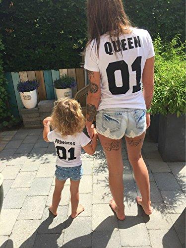 Minetom King Queen Prince Princess Stampa 01 Maglietta Tops Manica Corta Tshirts Prima Edizione Regalo Di San Valentino per Famiglia Bianco Queen