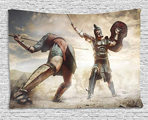 pestry Gladiators Ancient Greek Warriors Fighting in The Combat Swords Shields Wall Hanging for Bedroom Living Room Dorm Inches Brown Tan Dark Blue ()