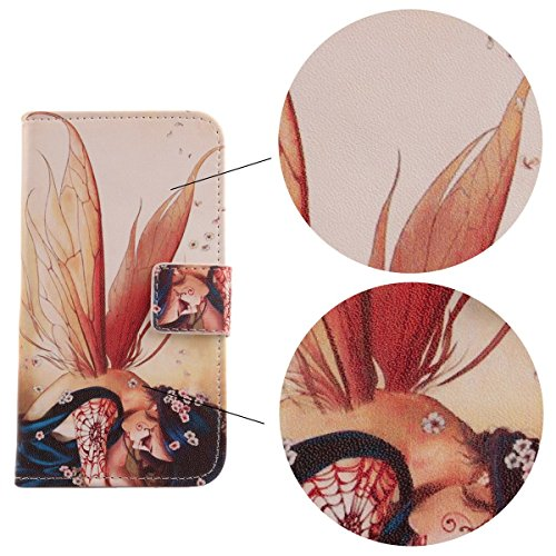 "Lankashi Housse Case Cuir Cover Flip Etui Coque Protection Skin Pour Apple iPhone 7 4.7"" Zither Girl Design Wing Girl"