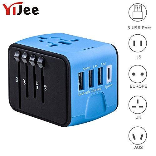 yijee Universal Travel Adapter all-in-One International Travel Ladegerät mit 3,4A 3USB + 1Typ C weltweit Reisen Power Adapter Stecker-Wand-Ladegerät für US, UK, EU, AU & Asien für 150Länder (blau) - Port Hot Plug