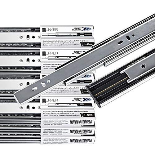 Softclose Vollauszug (1 VE (10 PAAR) Vollauszüge 600 mm 45 Kg Tragkraft mit Soft Close Schubladenschienen von JUNKER)