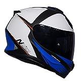 Nitro N3100Rival Full Face casque de moto Blanc/noir/bleu + Gratuit foncé Visière