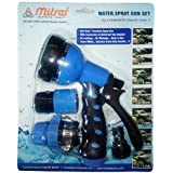 """Mitras Water Spray Gun Set For Car & Bike Cleaning Blue 12.5mm (1/2"""") With Tap Adapter Having Easy To Use Butterfly Clamp & Bead Chain To Tighten"""