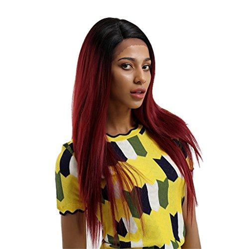 MagiDeal Perruque Longue Droite en Fibre Synthétique Noir Dégradé Vin Rouge avec Bonnet, Extensions de cheveux pour Femme Fille