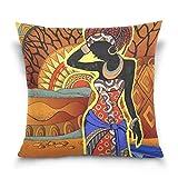 MyDaily Motiv Afrikanische Frau, Überwurf, quadratischer Kissenbezug aus Baumwolle, Samt, multi, 41...