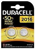 Pile bouton lithium Duracell spéciale 2016 3V, pack de 2 (DL2016/CR2016), conçue pour une utilisation dans les porte-clés, balances et dispositifs portables et médicaux