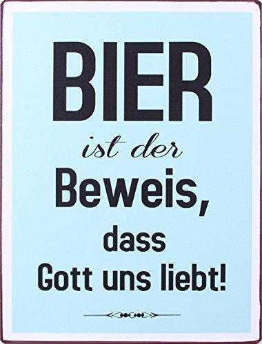 1art1 98155 Bier - Bier Ist Der Beweis, Dass Gott Uns Liebt Poster Blechschild 35 x 26 cm