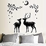 Zbzmm Wallsticker Home Bedroom Black Sika Deer Backdrop TV Bathroom Wall Stickers Flowers Quotes Vinyl Wall Stickers Living Room Mural Art Decal Wall Decoration 108 * 110 cm