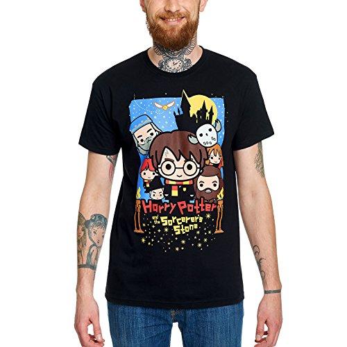 Elbenwald Harry Potter Herren T-Shirt Stein der Weisen Chibi Poster Baumwolle schwarz - XXXL