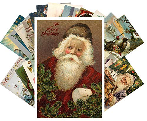 Vintage Christmas Greeting Cards 24pcs Christmas and Santa Reprint Antique Postcard Set