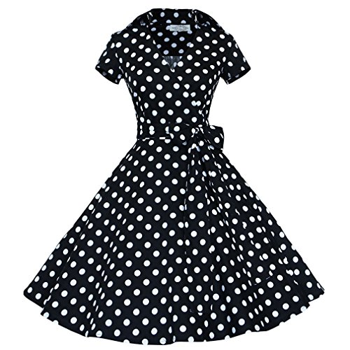 Smile YKK Rétro Audrey Hepburn Style Robe à Manche Courte Nœud à deux Boucles Noir Pois