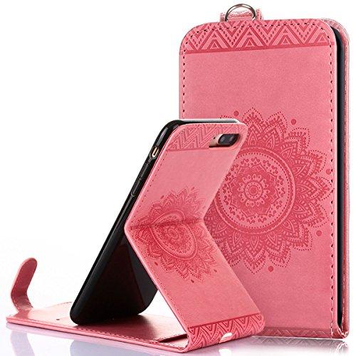 Custodia iPhone 7/8 plus,Ukayfe Flip Cover Case Custodia per iPhone 7/8 plus in pelle PU,iPhone 7/8 plus Lussuosa Astuccio Custodia Cover [PU Leather] [Shock-Absorption] Protettiva Portafoglio Cover C Rosa
