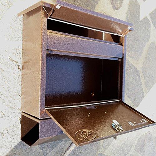 Großer Briefkasten / Postkasten XXL Kupfer / Bronce mit Zeitungsrolle Zeitungsfach Schrägdach Trapezdach - 4