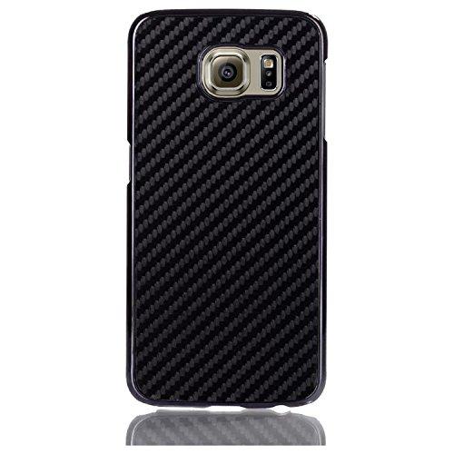 Samsung Galaxy S6 Cellto Case Cover [Carbon Fiber Leather-Bound] Premium 2 Piece Cover [Free Pellicola Protettiva] Lifetime Warrany [Raised Edge and Corner Bumper Protection] Black - Made in Korea
