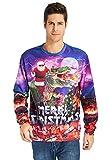 Rave on Friday 3D Print Jumpers Damen Weihnachten Ugly Pullover Komisch Weihnachtsmann und Dinosaurier Grafik Cool Sweatshirt Herren S