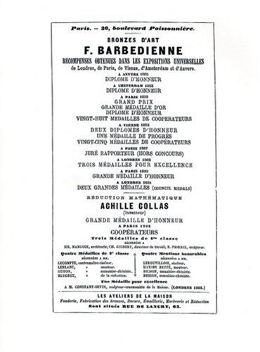 CATALOGUE DES BRONZES DART 1886 (Abage)