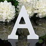 Lettere dell'alfabeto in legno Bodhi2000, colore bianco, decorazione per matrimonio, compleanno e arredo casa, Legno, A, taglia unica