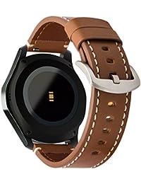 Gear S3 Correa, iBazal Gear S3 Frontier / Classic Correa en Cuero Genuino 22mm Banda con Cierre Negro para Samsung Gear S3 Frontier / Classic SM-R760 - Marrón