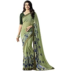 Tagline Women's Clothing Saree Collection in Multi-Coloured Georgette Material For Women Party Wear,Wedding,Casual sarees Offer Latest Design Wear Sarees With Blouse Piece (Green)18155