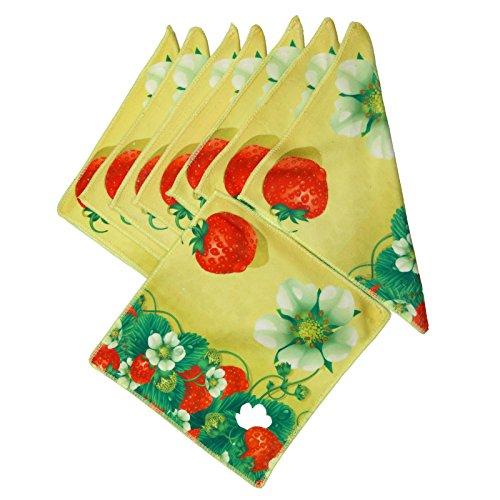 Lot de 8 moelleux microfibre Gant de toilette serviette essuie-mains, Manique Essuie-mains, lavable en microfibre anti-taches, fraises