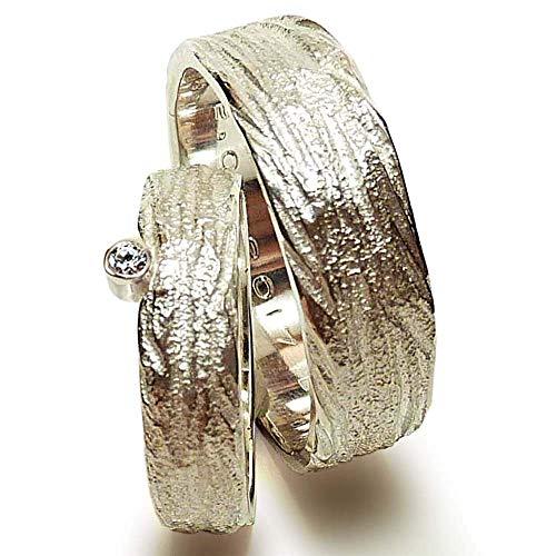 Eheringe Silber und Zirkonia mit breitem Herrenring - handgefertigt by SILVERLOUNGE