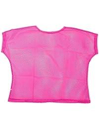 19630f4841 Crazy Chick Fishnet Mesh Top Dance Punk 80s Neon Pink Ladies Teens Retro  1980s Rocker Punk String Net T-Shirt Fancy Dress