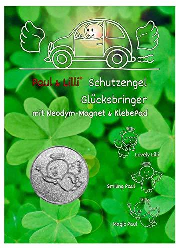 ngel Auto Glücksbringer, Farbe Silber, 2,3cm, Engel Magic Paul, 1 Stück Magnet Plakette Zettelhalter ()