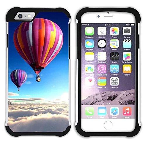 Graphic4You Heißluftballon Sicht auf den Himmel Flug Hart + Weiche Kratzfeste Hülle Case Schale Tasche Schutzhülle für Apple iPhone 6 Plus / 6S Plus Design #12
