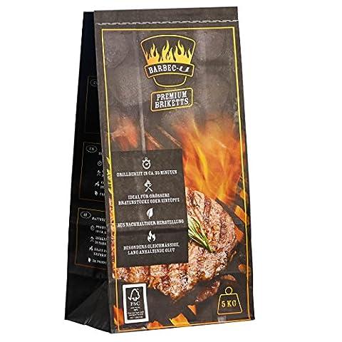 Barbec-U 200100001189 5 KG BBQ Briketts, schwarz, 50 x 23