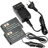 DSTE 2-pack Rechange Batterie et DC23E Voyage Chargeur pour Samsung SLB-10A P800 P1000 PL50 PL51 PL55 PL60 PL65 PL70 SL102 SL202 SL310 SL420 SL502 SL620 SL720 SL820 TL9 WB150F WB250F WB350F WB500