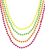 80er Jahre Neon Perlenkette Kette Schmuck 4er Set neonfarben gelb grün pink orange