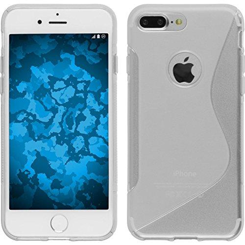PhoneNatic Case für Apple iPhone 8 Plus Hülle Silikon schwarz S-Style Cover iPhone 8 Plus Tasche + 2 Schutzfolien Clear