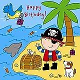 twizler Happy Birthday Karte für Jungen mit Pirat, Papagei, Hund und Swarovski Crystal Finish–Kinder Geburtstag–Jungen Geburtstag Karte