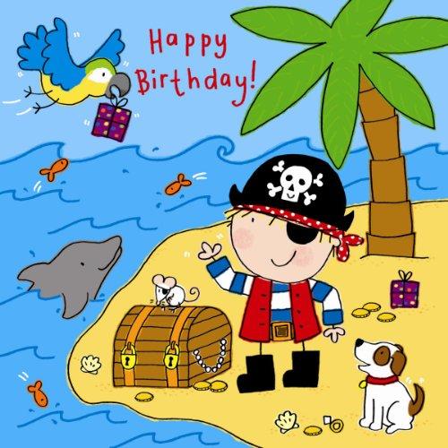 ay Karte für Jungen mit Pirat, Papagei, Hund und Swarovski Crystal Finish-Kinder Geburtstag-Jungen Geburtstag Karte ()
