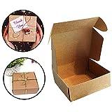Kraft Papel Cajas de Regalo (Pack de 20) - 13x12x5cm Kraft Marrón Cajas de Regalo Autoensamblables para Presentación Regalo, Fiestas, Bodas, Pasteles, Galletas y Joyas